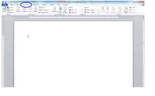 On the top bar of your work document, you will see multiple tab options.  Click on PAGE LAYOUT.