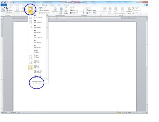 Once you are on the PAGE LAYOUT tab, click on the drop down option for SIZE.  Next select MORE PAPER SIZES …