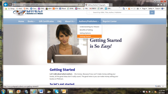 Navigate to the Getting Started tab on pubgraphicsirect.com